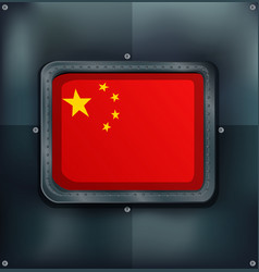 flag on china on metalic background vector image vector image