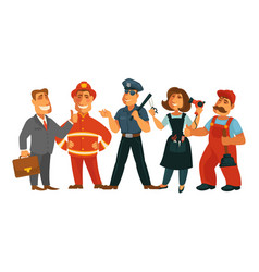 people professions fireman policeman businessman vector image
