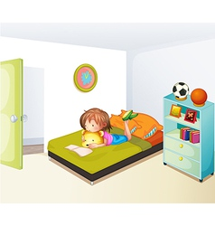 A girl studying in her clean bedroom vector image