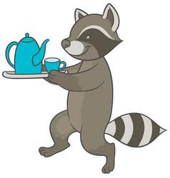 cartoon raccoon carries tray of tea and teacup vector image
