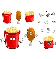 French fries chicken leg and popcorn vector image vector image