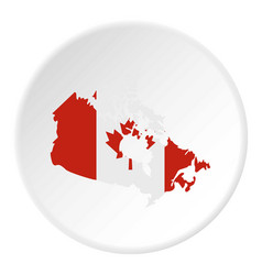 map of canada in national flag colors icon circle vector image vector image