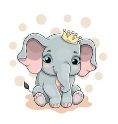 A cute baby elephant vector