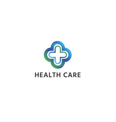 abstract cross medical health care logo icon vector image