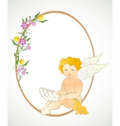 Angel with flowers and oval frame vector