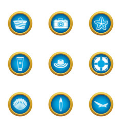 Authorization water icons set flat style vector