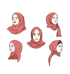 beautiful moslem girl pink hijab set design vector image