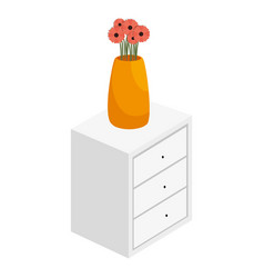 Bedside table with drawers and flowers vase vector