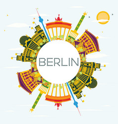 Berlin skyline with color buildings blue sky vector