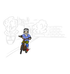boy riding bicycle with gray helmet and safety vector image