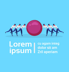 business people group two team pushing stone ball vector image