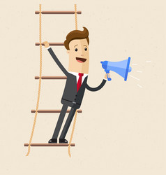 Businessman stand s on rope ladder and speak vector