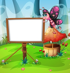 Butterfly flying and whiteboard vector