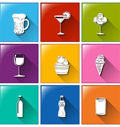 Buttons with the different refreshing drinks vector image vector image
