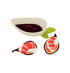 Canape with fig fruit shrimp and sauce vector