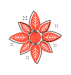 cartoon flower icon in comic style flower vector image