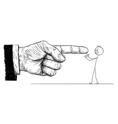 cartoon of big hand in suit giving order or vector image