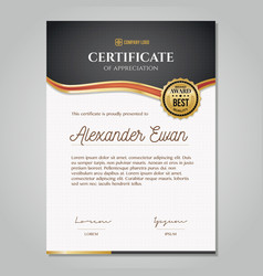Certificate template with golden decoration vector