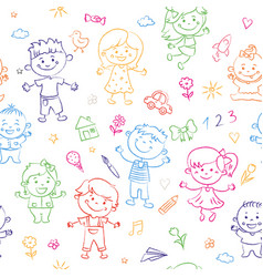 Cheerful children seamless pattern painted by vector