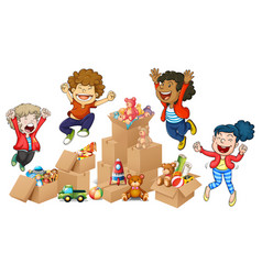 Children and boxes of toys vector