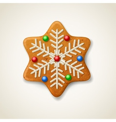 Christmas gingerbread snowflake vector image