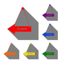 closed sign set of red orange vector image