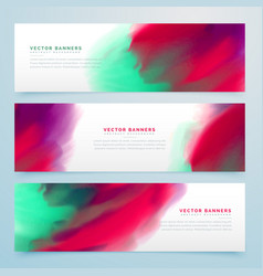 colorful watercolor style banners collection vector image