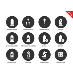 Condoms icons on white background vector image