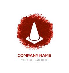 Cone icon - red watercolor circle splash vector