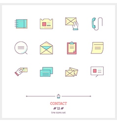 Contact Line Icons Set vector image