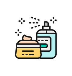 Cosmetics hair spray gel face mask flat color vector