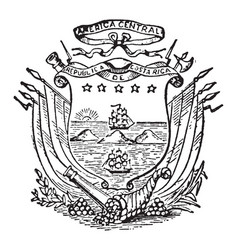 costa rican coat of arms are divide two oceans vector image
