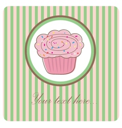 Cute background with small cupcake vector image