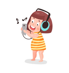 cute cartoon little girl listening music with vector image