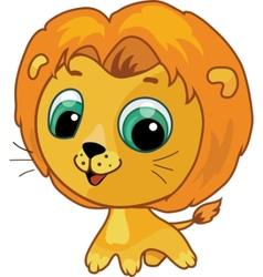 cute lion vector cartoon illustration vector image
