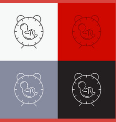 Delivery time baby birth child icon over various vector