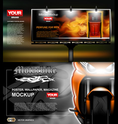Digital lightbox advertising with perfume vector