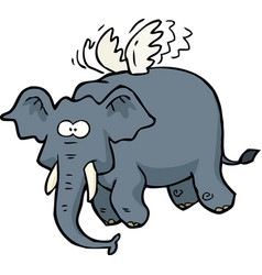 Doodle flying elephant vector