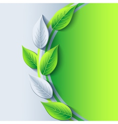 Eco background with fresh green and gray 3d leaf vector