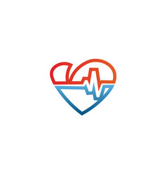elegant heart and ekg outline logo design template vector image