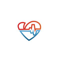 elegant heart and ekg outline logo design template vector image