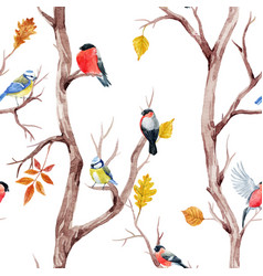 Fall trees and birds pattern vector