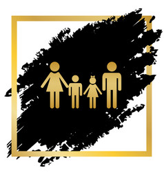 Family sign golden icon at black spot vector