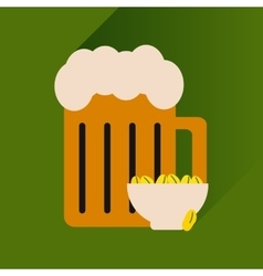 Flat icon with long shadow glass of beer vector