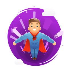 flying happy cute superhero character arrows vector image