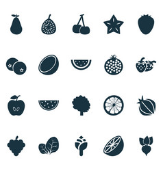 food icons set with lemon artichoke apple and vector image