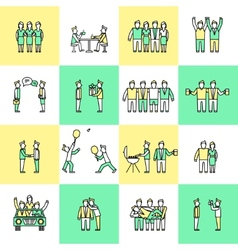 Friends icons flat line vector image