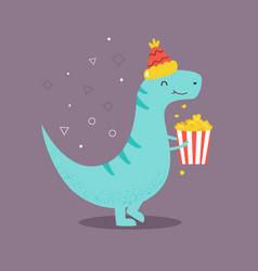 Funny t-rex eating pop corn vector
