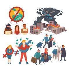 gender inequality migration and discrimination vector image