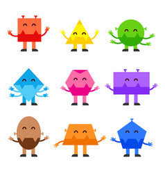 Geometric shapes funny monsters cartoon vector